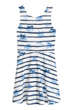 Jersey dress - White/Dark blue/Striped - Kids | H&M CN 2